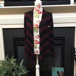 XXI Black & Burgundy Striped Open Front Cardigan